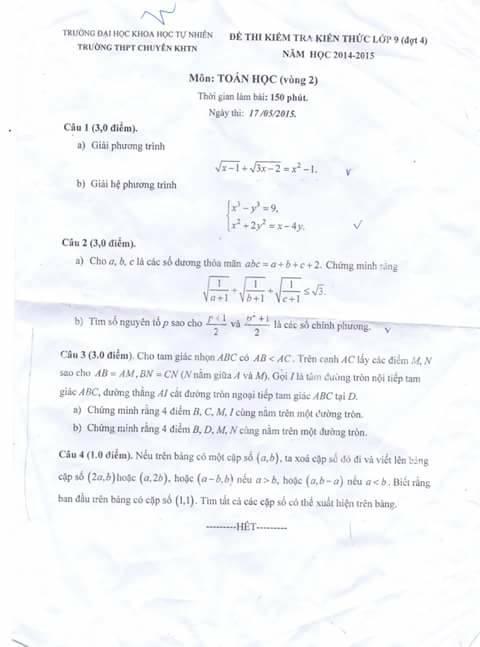 Đề kiểm tra toán 9 - chuyên KHTN (14-15)