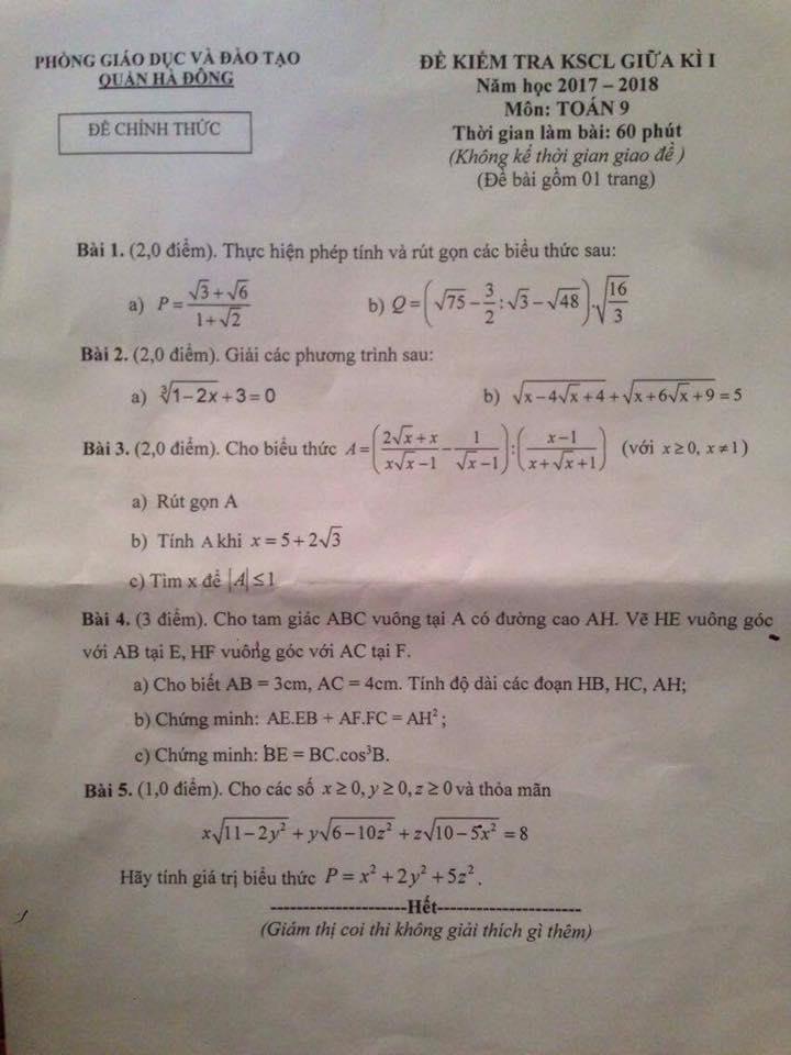 Đề thi giữa học kì toán 9 - quận Hà Đông (17-18)