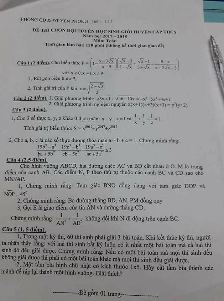Đề thi HSG môn Toán lớp 9 huyện Yên Phong (17-18)
